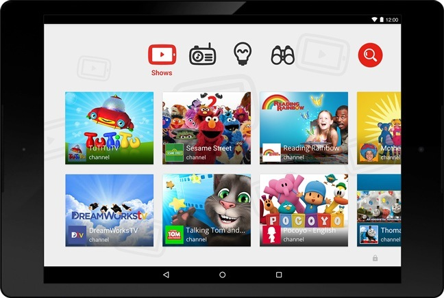 Imagen de la interfaz de YouTube Kids