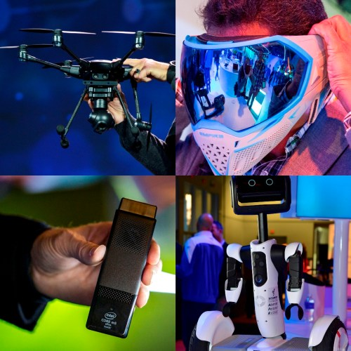 Intel's technology was part of many award-winning innovations at last week's International Consumer Electronics Show. Clockwise from upper left: Engadget, PC Magazine and Videomaker named the Yuneec Typhoon H with Intel® RealSense™ technology and the Intel® Atom™ processor as the best drone of CES. The Empire EVS smart paintball mask, designed with Intel's Recon Instruments to provide a heads-up display of statistics, was recognized by Engadget as the best wearable. PBS, Reuters and Wired  included the Ninebot Segway personal transporter, which is powered by an Intel Atom processor and uses Intel RealSense technology, in their best-of-CES round-ups. Intel's Compute Stick, powered by the 6th Generation Intel® Core™ M processor or the latest quad-core Intel Atom processor, received the Editors' Choice Award from USA Today's Reviewed.com. The 2016 International Consumer Electronics Show, the leading forum for the world's consumer technology leaders, ran Jan. 5-9, 2016, in Las Vegas. (Credit: Intel Corp.)